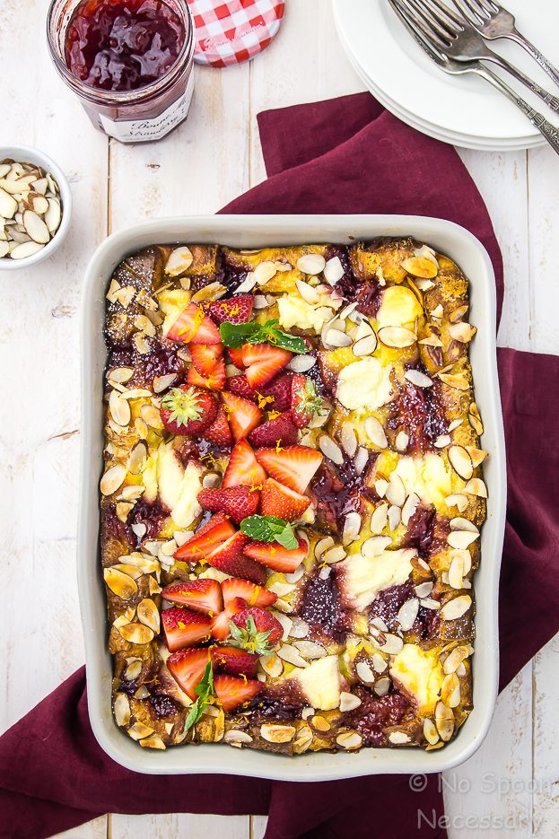 Overnight Strawberry Ricotta Breakfast Strata