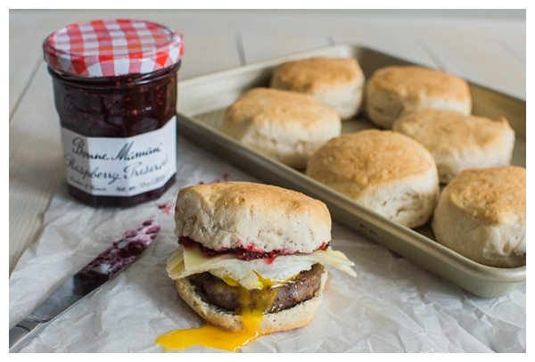 Sweet and Spicy Sausage and Raspberry Breakfast Sandwich