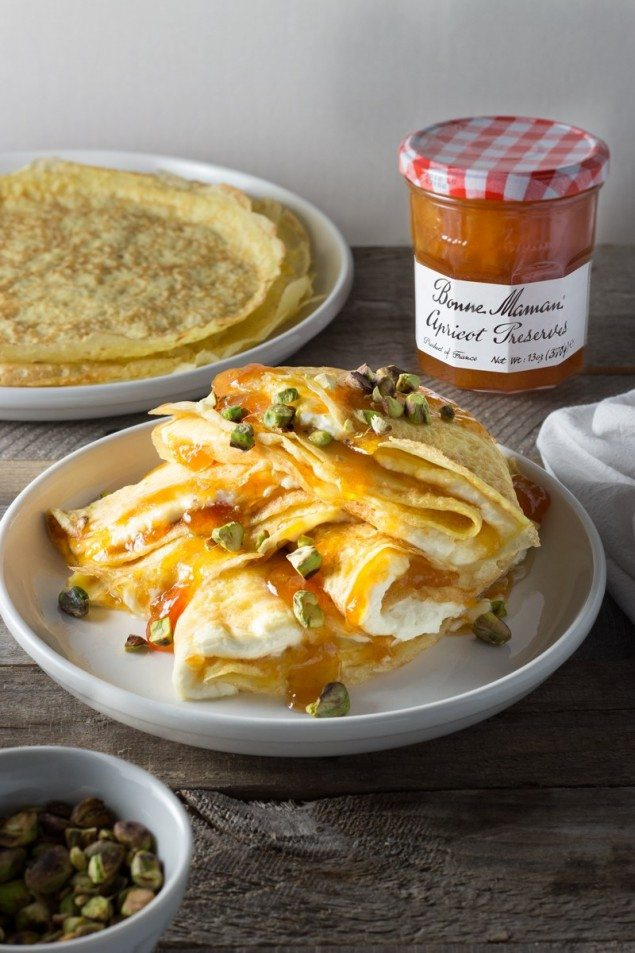 Whipped Mascarpone and Apricot Crepes