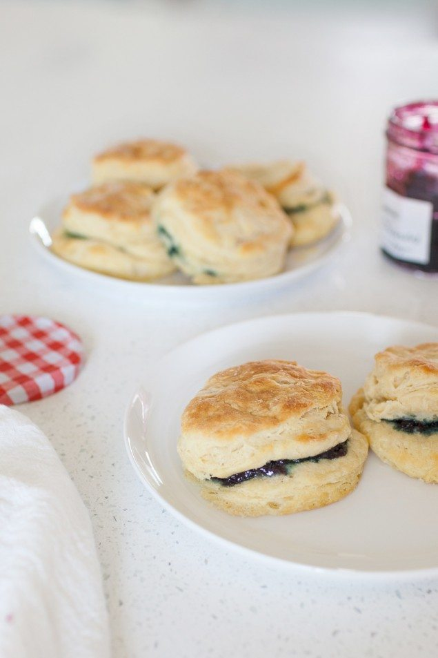 Sweet and Savory Blueberry Preserve Biscuits with Sausage Gravy