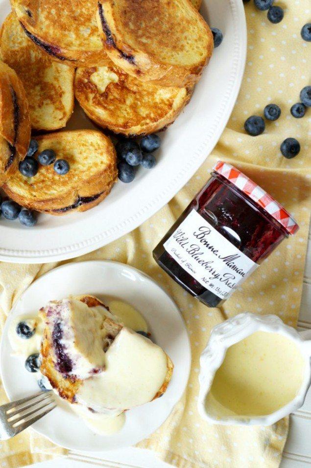 Blueberry Stuffed French Toast and Lemon Cream