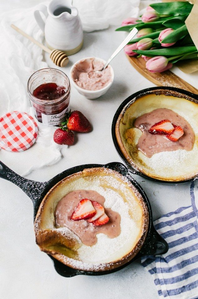 Mini Dutch Baby Pancakes and Whipped Strawberry Mascarpone