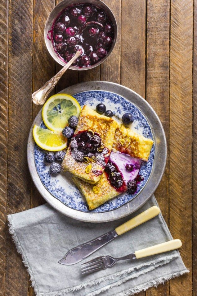 Blueberry and Cheese Blintzes