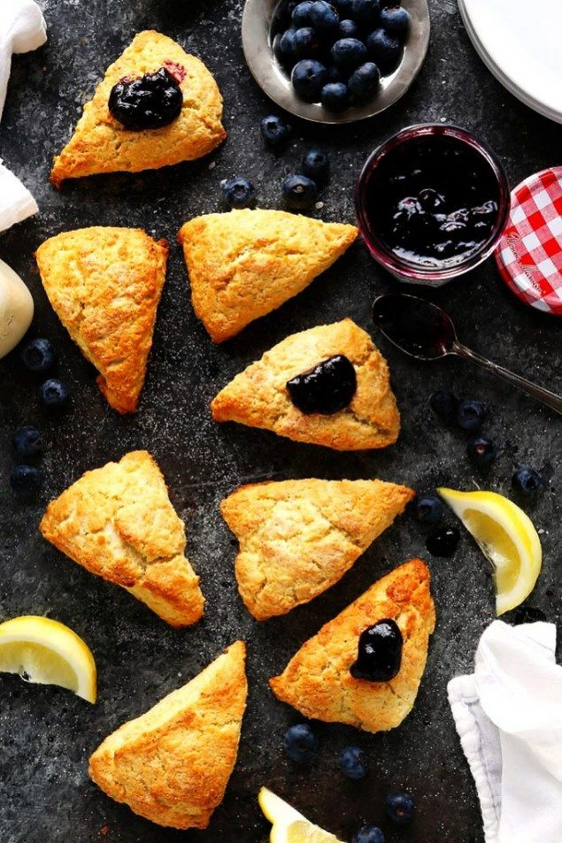 Lemon Cream Scones and Blueberry Preserves