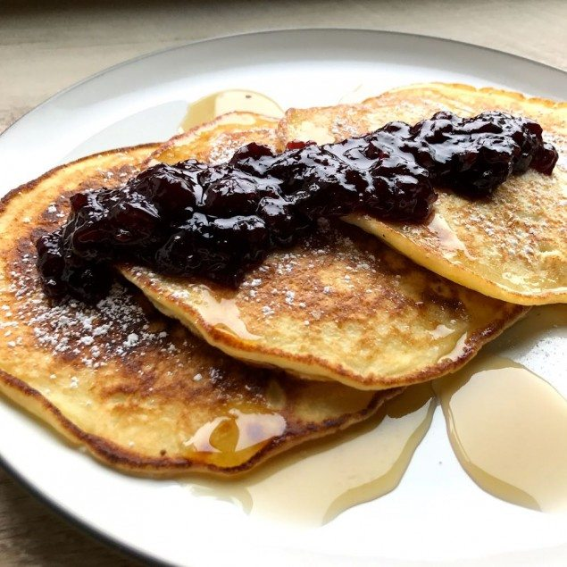 Cherry and Lemon Ricotta Pancakes