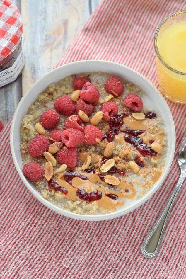Peanut Butter and Raspberry Breakfast Quinoa