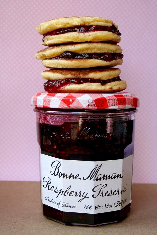 Raspberry Pancake Sandwiches