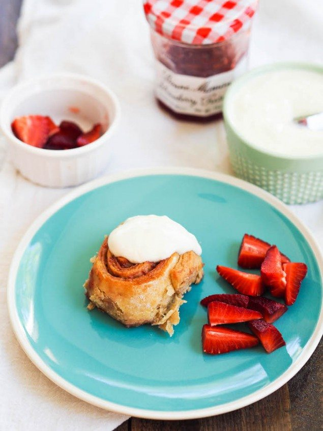 Strawberry Rolls with Lemon Yogurt Icing