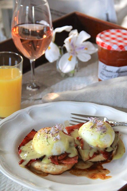 Eggs Benedict with Apricot Country Ham and Southern Biscuits