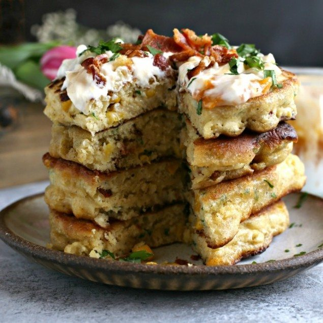 Bacon and Corn Fritters with Apricot Yogurt Sauce