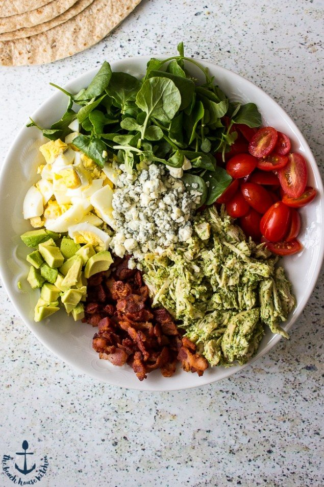 Cobb Salad Wrap with Watercress Pesto