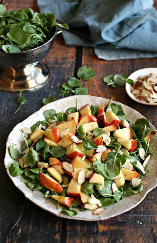 Honey Sautéed Apple and Almond Watercress Salad