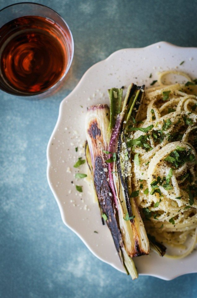 Charred Spring Onion Linguine