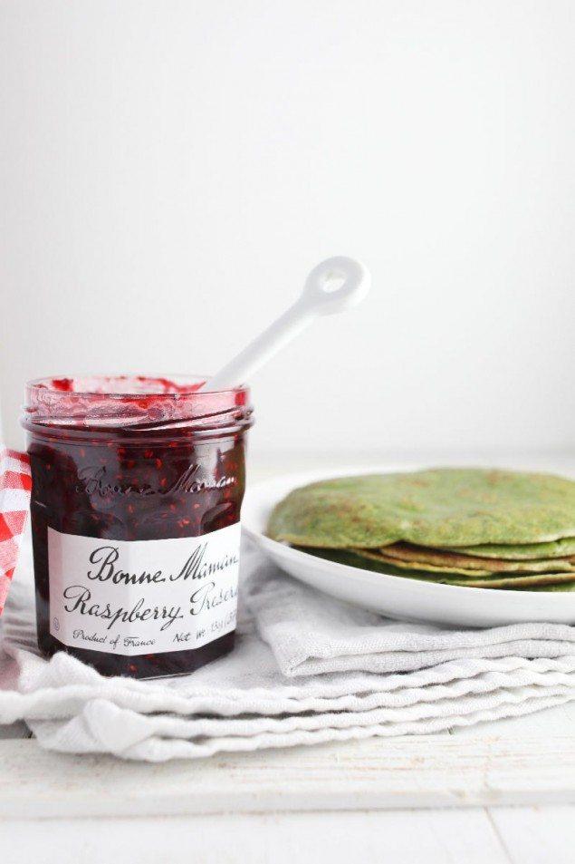 Raspberry and Matcha Crepes