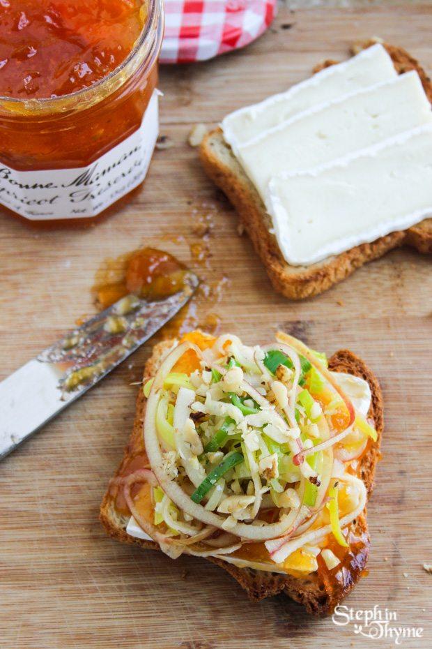 Gluten Free Apricot, Apple and Leek Breakfast Toast