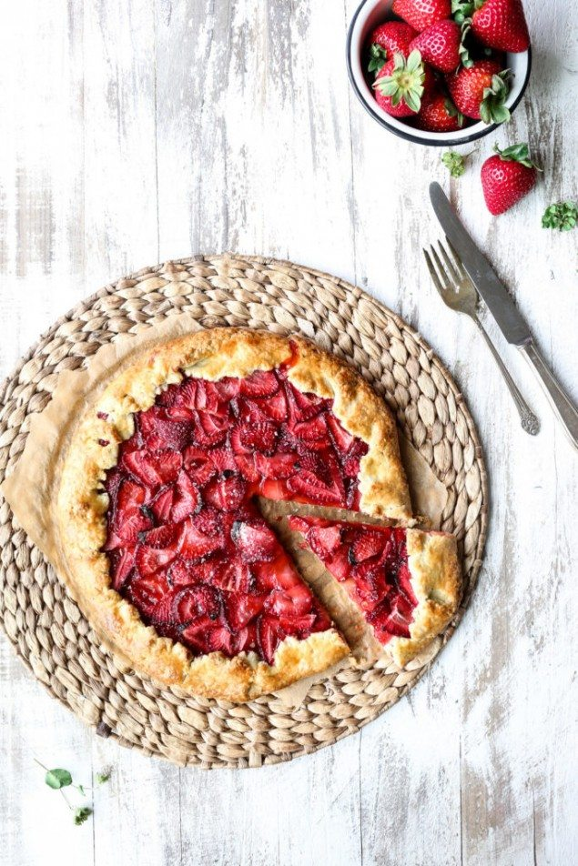 Strawberry Galette with a Basil Crust