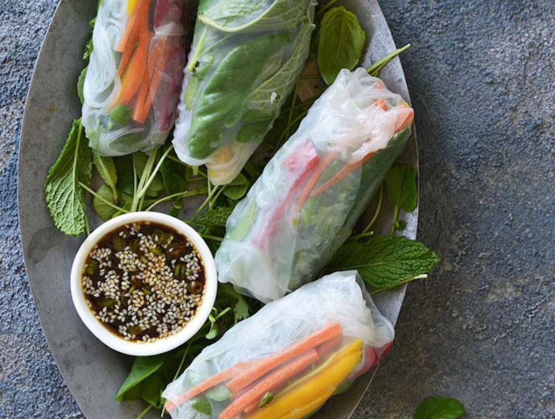 Watercress, Mango, and Mint Summer Rolls with Ginger ...