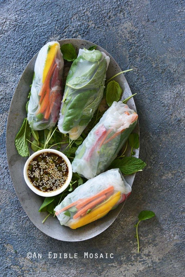 Watercress, Mango, and Mint Summer Rolls with Ginger-Sesame Sauce