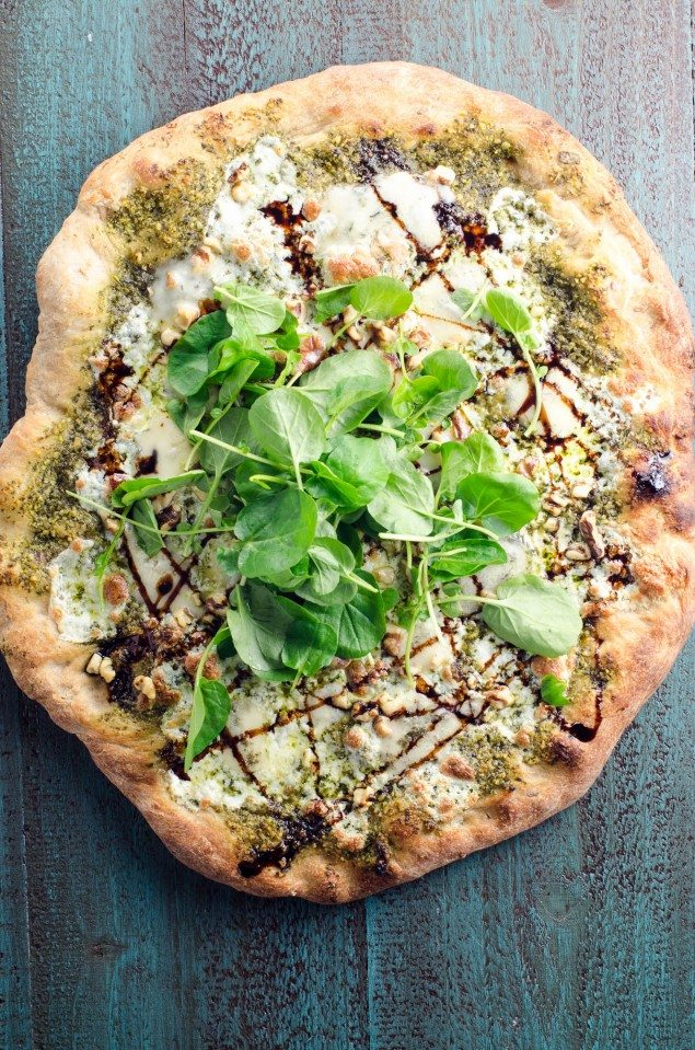 Blue Cheese and Watercress Pesto Pizza with Balsamic Glaze