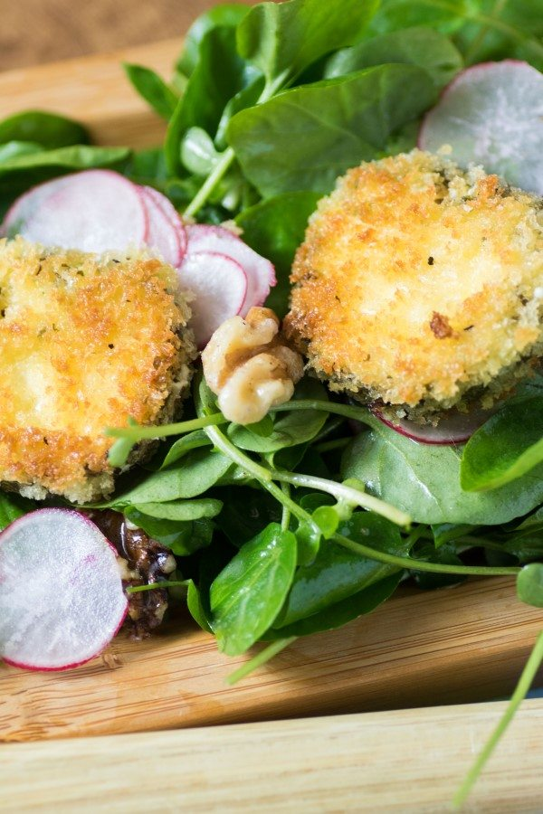 Fried Herbed Goat Cheese and Radish Watercress Salad