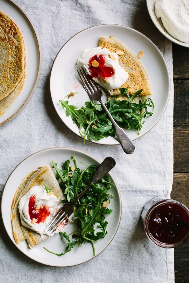 Whipped Goat Cheese, Ricotta and Strawberry Buckwheat Crepes