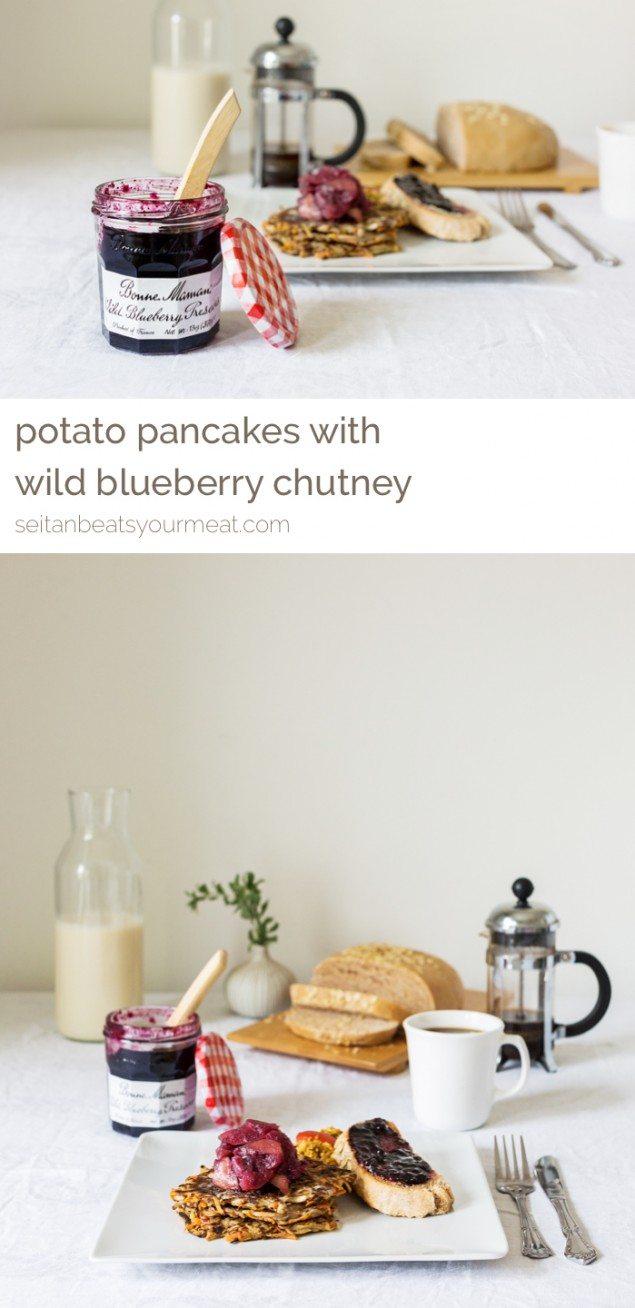 Potato Pancakes and Wild Blueberry and Apply Chutney