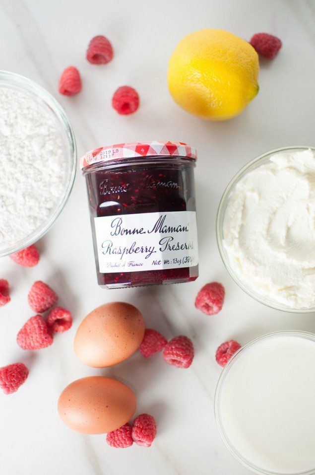 Lemon Ricotta Pancakes with Raspberry Preserves