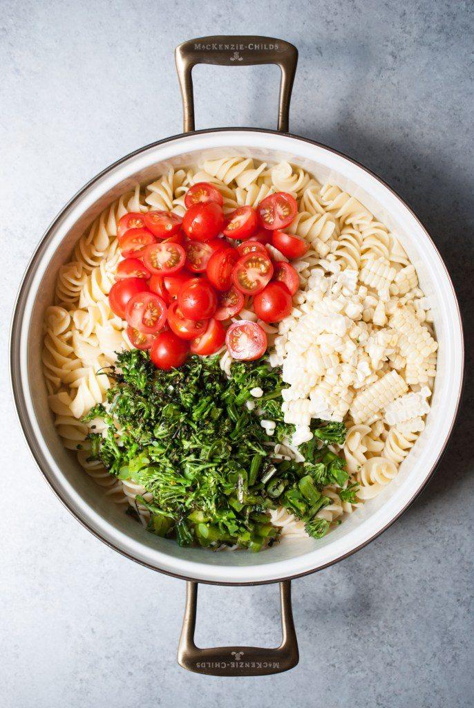 Grilled Broccoli and Corn Pasta Salad with Lemon-Garlic Dressing