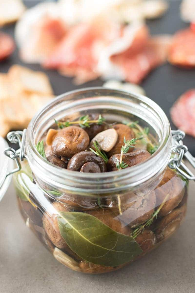 Charcuterie Board Must-Have: Herb and Garlic Marinated Mushrooms