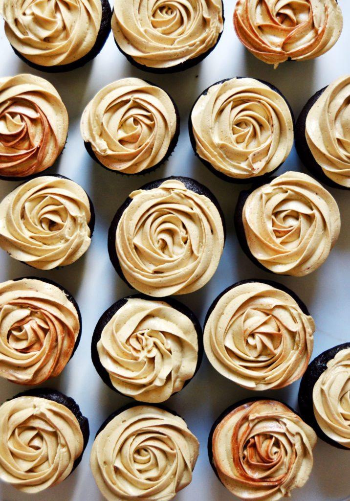 Dark Chocolate-Filled Mocha Cupcakes