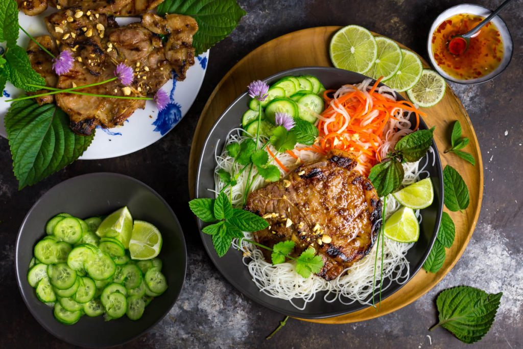 Grilled Pork Chops and Vietnamese Rice Noodles