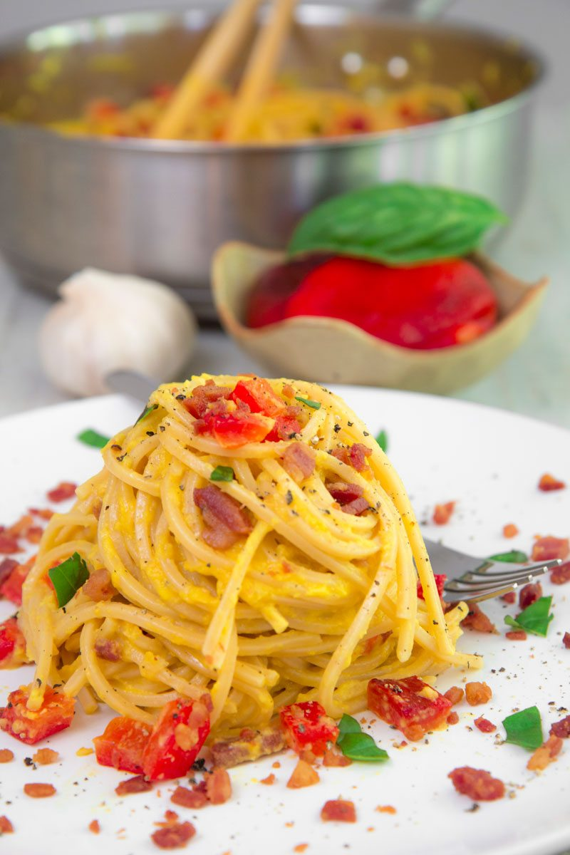 Pancetta and Roasted Bell Pepper Pasta