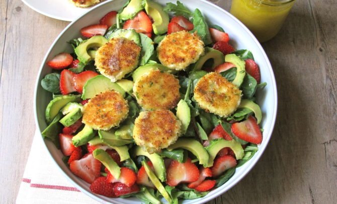 Strawberry, Fried Goat Cheese and Avocado Salad