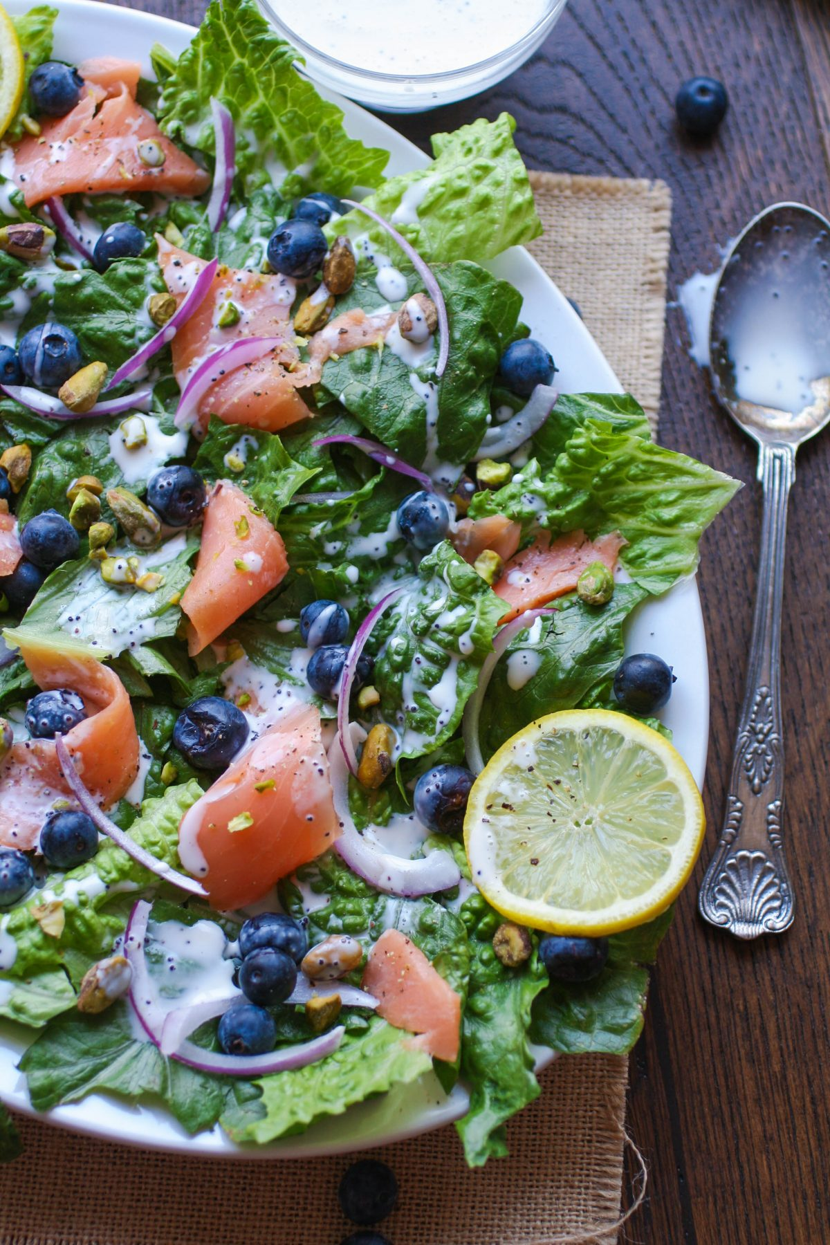 Smoked Salmon and Blueberry Salad with Lemon Poppy Dressing