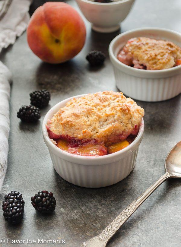 Peach and Blackberry Buttermilk Biscuit Cobbler