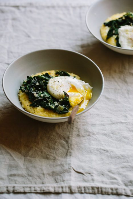 Greens and Parmesan Polenta Bowls