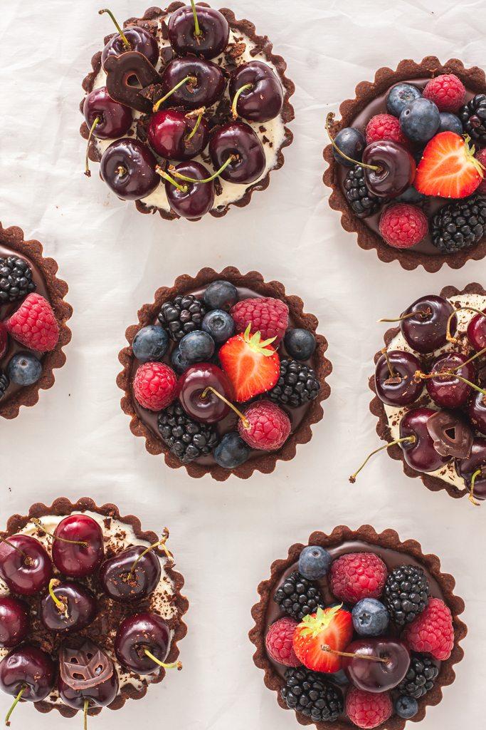 Mascarpone and Chocolate Fruit Tarts