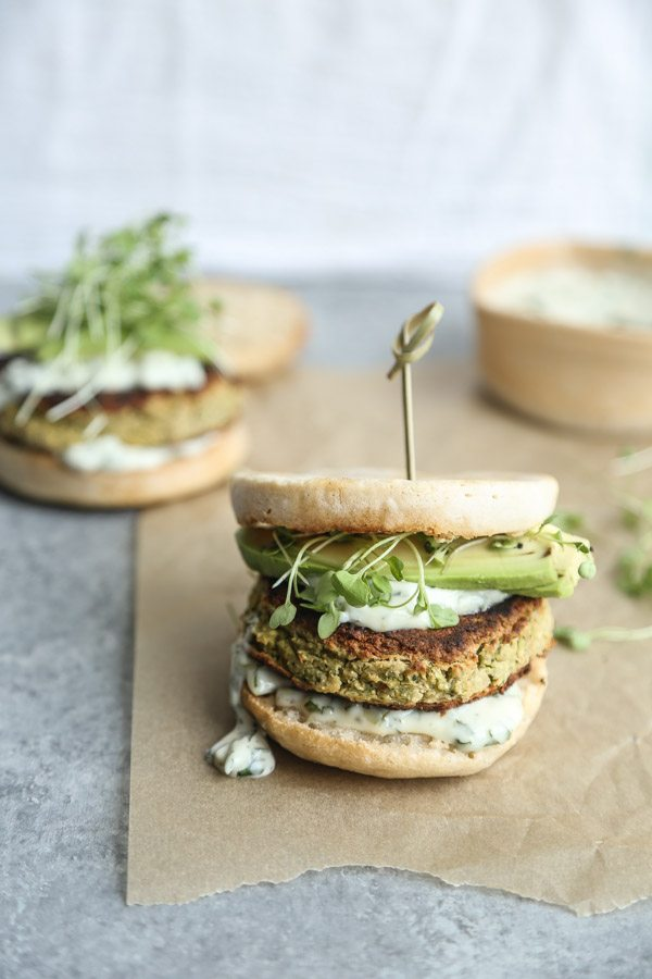 White Bean Zucchini Burgers and Green Olive-Basil Aioli