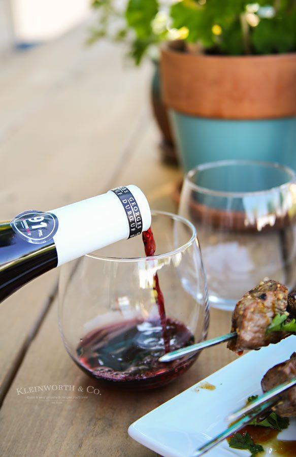Mushroom and Beef Kabob with Beaujolais Wine