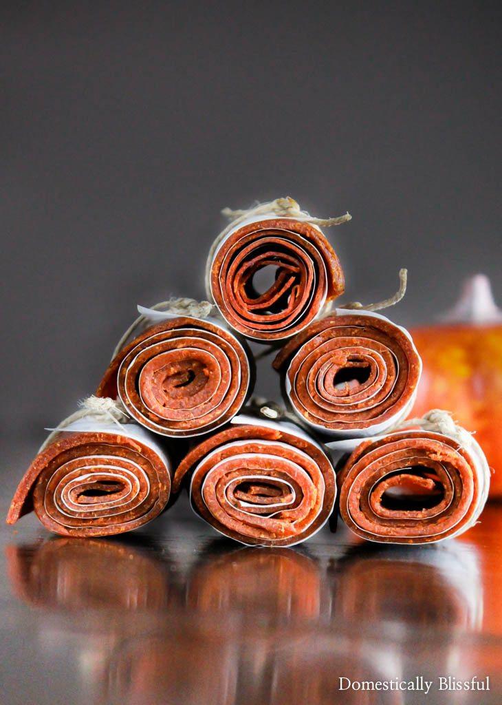 Pumpkin Spice Fruit Leather Rolls