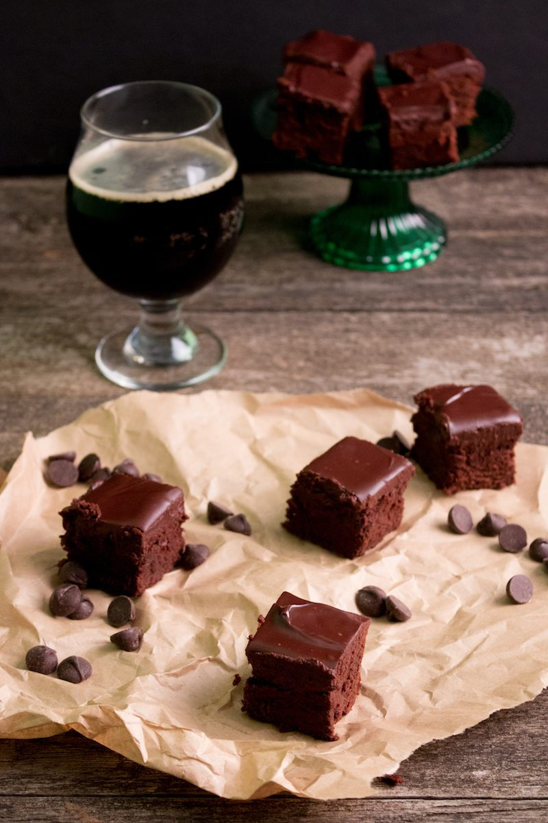 Stout Beer Brownies with Ganache