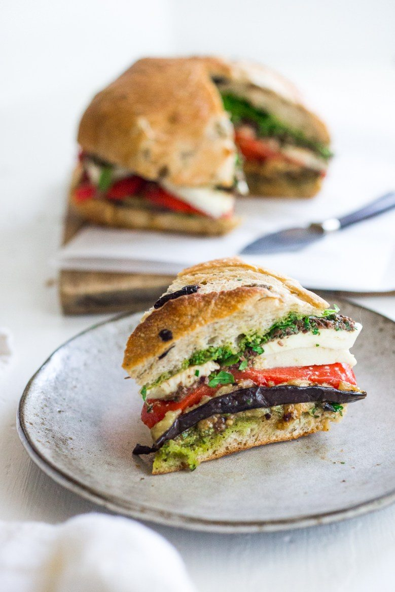Eggplant Muffuletta Sandwich on the Grill