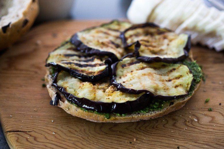 Eggplant Muffuletta Sandwich on the Grill