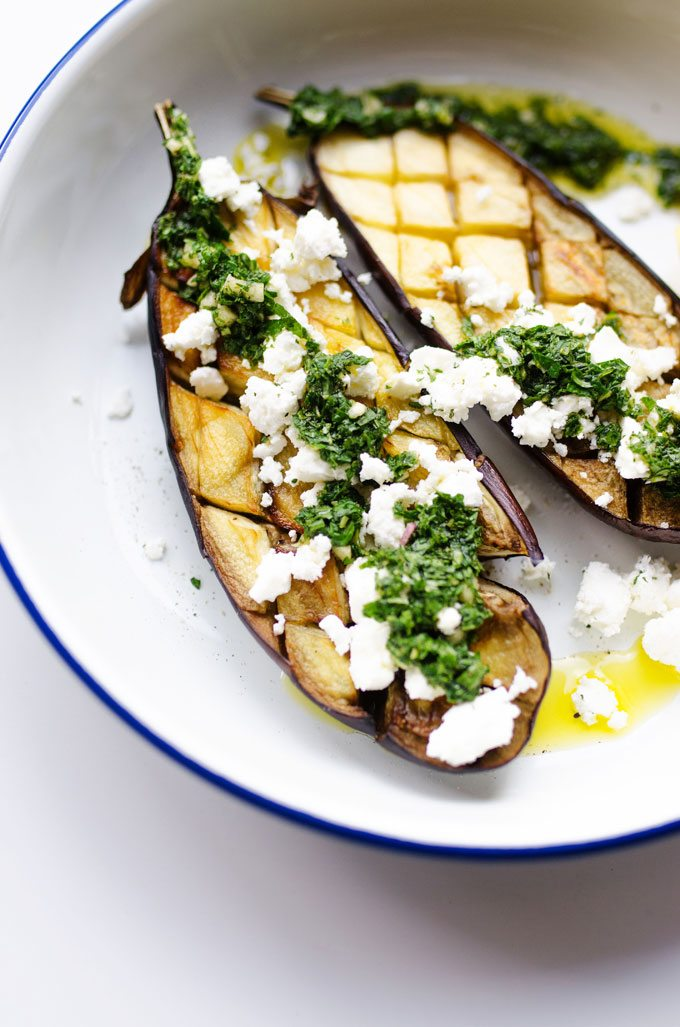 Mint and Feta Roasted Eggplant