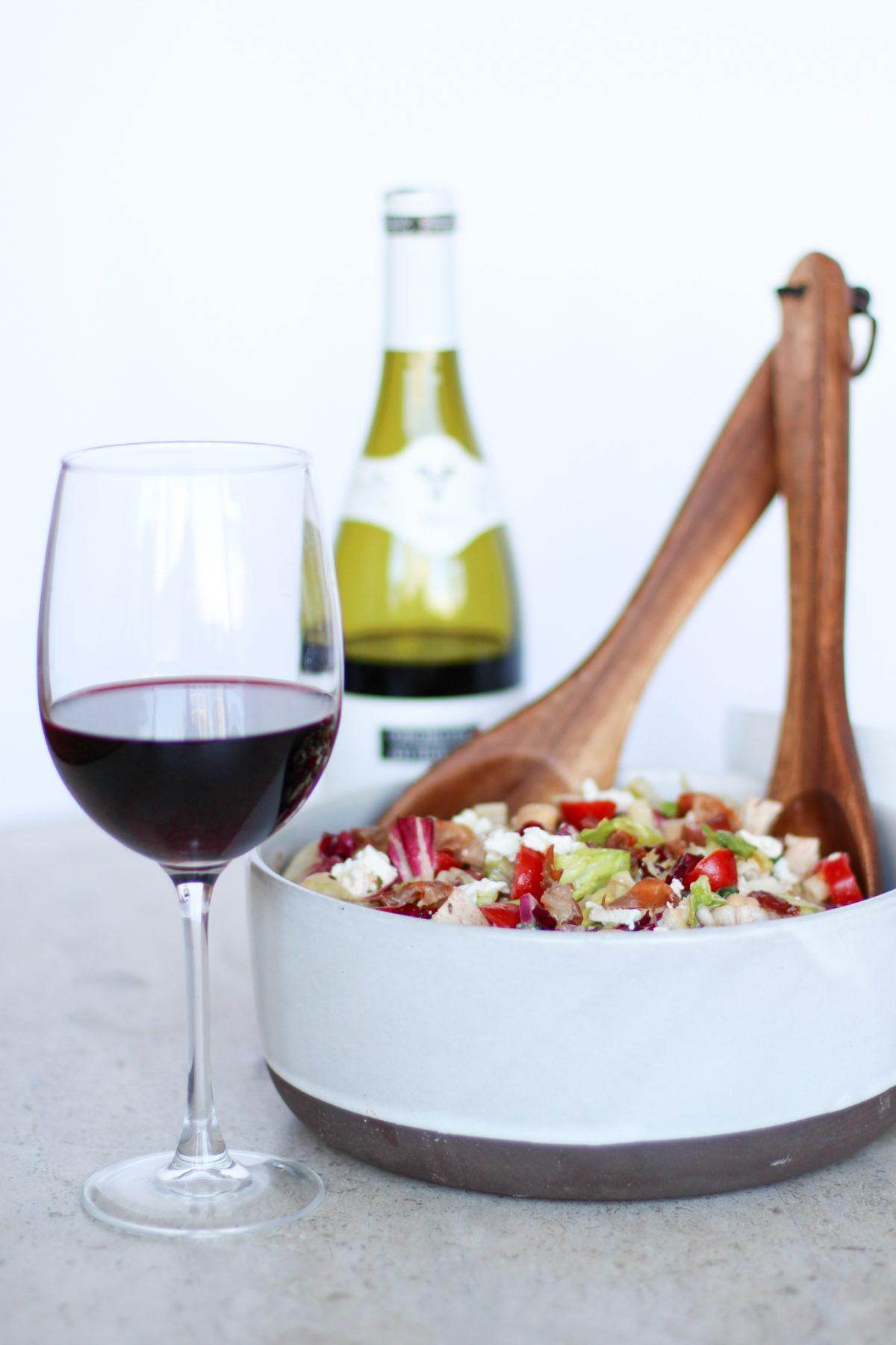 Hearty Chopped Salad and Beaujolais Wine
