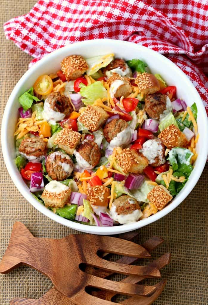 Cheeseburger Salad and Creamy Pickle Dressing