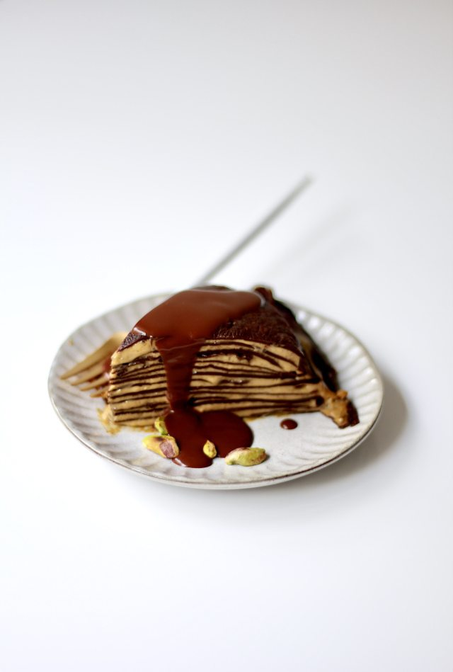 Chocolate Pistachio Crêpe Cake