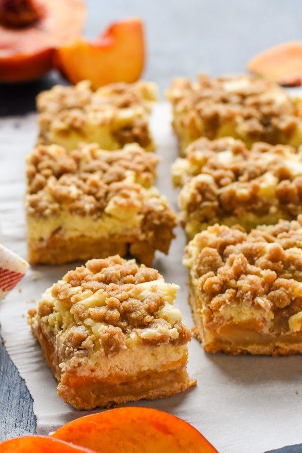 Peach Crumble Cheesecake Bars