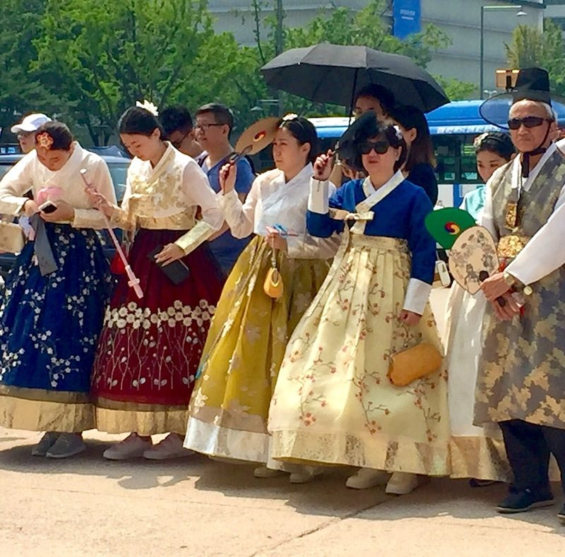 Wearing rented hanbok for free entrance