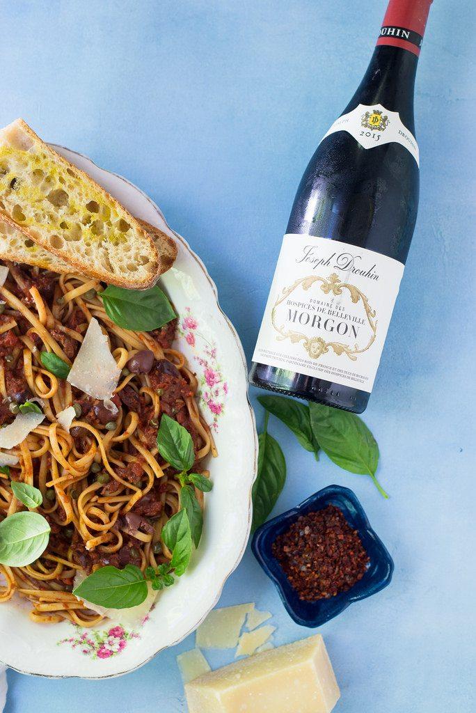 Pasta Puttanesca with Beaujolais Wine
